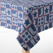 """Celebrate Life Together Blue Western Boots Texas Fabric Tablecloth 70"""" Round"""