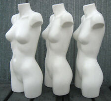 (Used) Mn-Aa18 3 Pc White 3/4 Female Torso Plastic Mannequin Form - Made in Usa