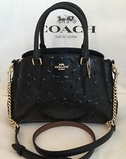 COACH F31485 MINI SAGE SIGNATURE DEBOSSED PATENT LEATHER CHAIN SATCHEL BLACK NWT