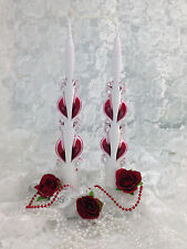 """Taper Candle Hand Carved Ribbon candles one pair 11"""" tall tapers- RUBY RED"""