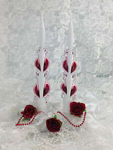 """Hand Carved Taper Candle Ribbon candles one pair 11"""" tall tapers- RUBY RED"""