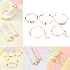 5Pcs Boho Crystal Charm Women Gold Chain Cuff Bracelet Bangle Wrist Band Jewelry