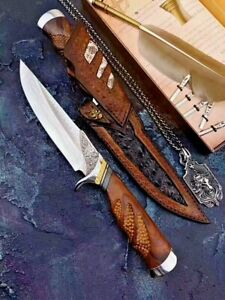 Handmade Drop Point Knife Wild Hunting Tactical VG10 Damascus Steel Collectible