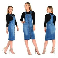 NEW WOMEN'S LADIES SEXY DENIM PINAFORE DRESS STRETCH BLUE WASH DUNGAREES JEANS