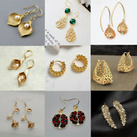 Boho 18K Yellow Gold Filled Ear Hoop Dangle Leaves Earrings Women Gift Jewelry