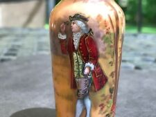 19th C. French Limoges Hand Painted Enamel Miniature Portrait Vase, SIGNED Lovit