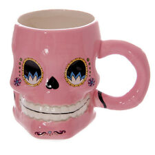 Skeleton Shaped Ceramic Coffee Cup Mug Day Of The Dead Funky Shaped Skull Floral