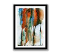 Blue and orange abstract - Print of ink abstract painting unique gift ID 1233