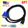 HDMI Male to VGA Male Video Converter Adapter Cable for PC DVD 1080p HDTV 6FT
