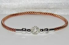 9ct Rose Gold on Silver Ladies Expandable Crystal Ball Bracelet / Bangle