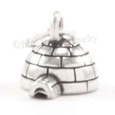 3D IGLOO Charm Alaska Arctic Canada Eskimo Pendant 925 Sterling Silver small