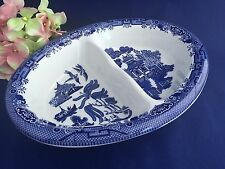Churchill Blue Willow Pattern Oval Divided Vegetable Bowl English Pottery