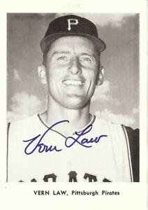 Vern Law Signed Autographed 5X7 Photo 1961 Jay Publishing Pirates COA