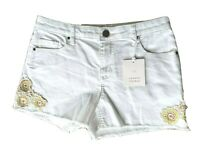 Lauren Conrad Shorts Size 6 White w Floral Embroidery NWT