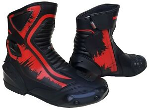 MENS BLACK LEATHER MOTORBIKE / MOTORCYCLE RACING BOOTS SPORTS SHORT SUMMER SHOES