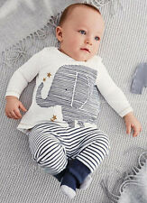 US Baby Toddler Boy Elephant Tops T-shirt Stripe Long Pants Kids Set Outfits 70