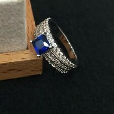 18K White Gold Plated Saphire Blue Crystal Ring Was $25 Now $10.99