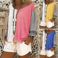 UK Plus Size Women Summer T-Shirt Ladies Long Sleeve Plain Baggy Blouse Tee Top