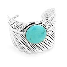 Leaf Bracelet Silver Plated Women Aqua Blue Howlite NEW