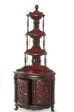 Dollhouse Miniature Mahogany Corner Display Cabinet ..#810902
