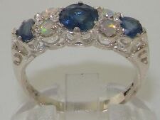 Quality Vintage Design Solid 925 Sterling Silver Natural Sapphire & Opal Ring