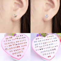 12/36 Pairs Crystal Flower Stud Earrings Fashion Women Girl Diamante Jewelry Set