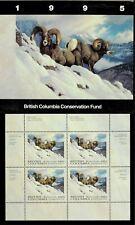British Columbia #1 1995 Big Horn Sheep Conservation Stamp Mini Sheet In Folder