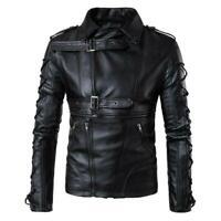 5XL Punk Mens Lapel Buckle Straps Leather Biker Jackets Zipper Motor Coat 0820