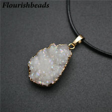 Natural Druzy Agate Pendant Leather Chains Necklace Fashion Woman Party Jewelry