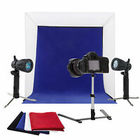 "24"" Photo Studio Photography Light Tent Kit Backdrop Cube Lighting In A Box"