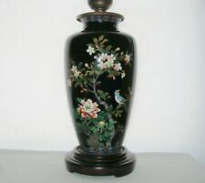 Incredibly Exquisite Japanese Cloisonne Lamp Base Glorious Flowers Bird Artistic