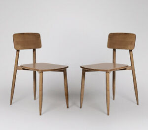 Swoon Southwark Dining Chair, Set of Two, Natural Oak Stained Mango Wood