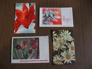 Sowjetunion: 4 Ansichtskarten Blumen, beschriftet, Moskau Jahr 1968/1969