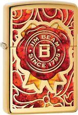 Zippo Jim Beam Fuzion Burnt Wax Logo Solid Brass WindProof Lighter NEW 29319