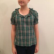 HAROLDS Green Black Plaid Ruffle Collar Cotton Blouse Short Sleeve Holiday Small