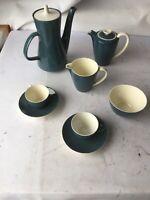 8 Piece Poole Pottery Twintone Blue Moon Tea Pot Hot Water Creamer Afternoon Tea