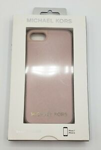 New Michael Kors Pink Saffiano Leather Snap-On Case For iPhone 7 And iPhone 8