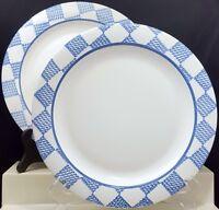 """Pfaltzgraff Hopscotch Dinner Plates 10-3/8"""" Set of 2 White Blue Checks No Fruit"""