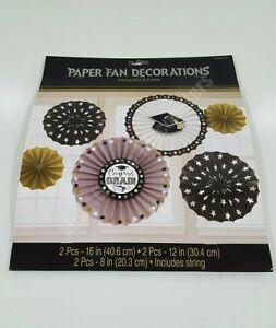 Amscan Grad Paper Fan 6 Pieces Including String Graduation Decoration 291006