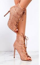 Anne MIchelle Rose Gold Heels Ankle Boots Rose Gold Sandals Booties Studded Boot