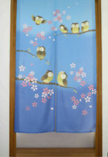 JAPANESE Noren Curtain BULE OWL BIRD SAKURA CHREE