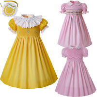 Spanish Kids Girls Smocked Dress Frilly Short Sleeve Pink Yellow Birthday Party