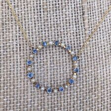 Antique Art Nouveau Sapphire  and Pearl Necklace 14k Gold