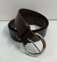 GAP Dark Brown Leather Strap Silverstone  Buckle Belt Size 32 - Made in USA
