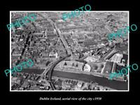 OLD LARGE HISTORIC PHOTO OF DUBLIN IRELAND, AERIAL VIEW OF THE CITY c1950 2