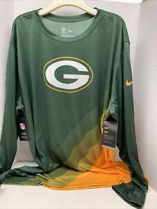 Green Bay Packers Nike Dri Fit NFL Onfield Apparel Green Shirt 3XL Long Sleeve