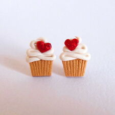 Love Glitter Red Heart First Date Girls Cupcake Muffin Earrings Funny Jewellery