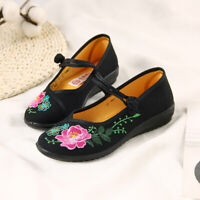 Chinese Embroidered Floral Shoes Women Ballerina Wedge Heel Ballet Cotton Loafer