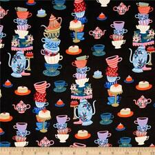 Wonderland Mad Tea Party Cotton & Steel By the yard  cotton print n black