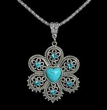 Turquoise Natural Stone Heart Flower Pendant Silver Tone Necklace